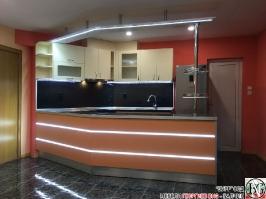 K013 - Разчупена кухня с барплот, Слонова кост, Оранж пастел_1