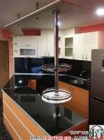 K013 - Разчупена кухня с барплот, Слонова кост, Оранж пастел_7