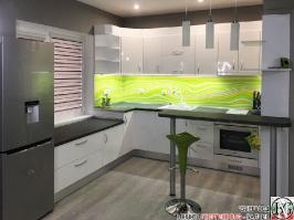 K015 - Кухня: Бял гланц, Grey Pietra Marble, Дъга_10