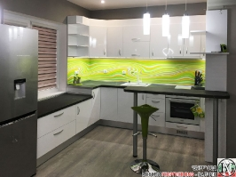 K015 - Кухня: Бял гланц, Grey Pietra Marble, Дъга_5