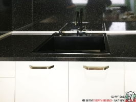 K003 - Кухня: Снежно бяло фладер и Аполон черен гланц_9