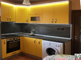 K007 - Кухня: Жълто/Sunshine, Зебрано сахара и етно венге - Кафяво_5