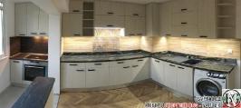 K011 - Кухня: White Coastland Oak, Мрамор лаурент и гранит Black Cosmos_2