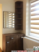 S005 - Тоалетка с огледало и ъглова етажерка: Дъб Крафт Табак
