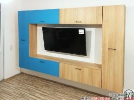 V005 - Окачена секция на стена: мармара синьо и дъб нагано